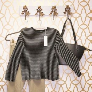 NWT Vince Striped Cotton Long Sleeve Top